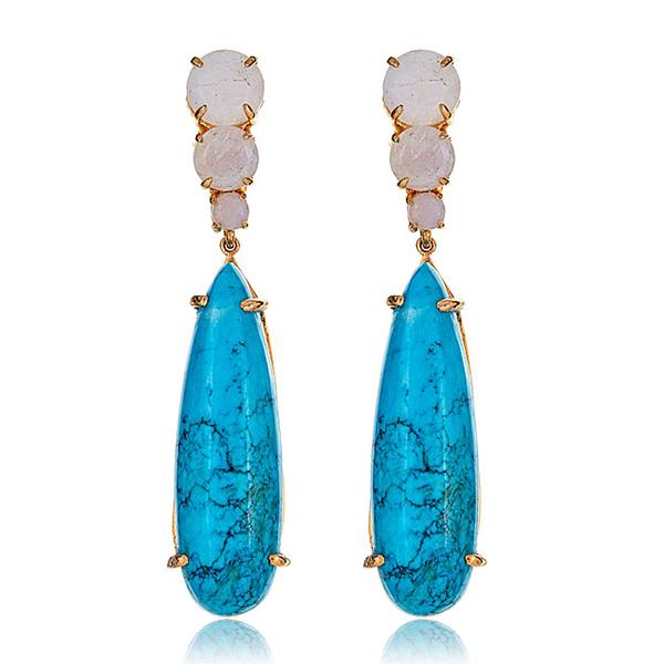 Turquoise Moonstone Earrings  by BOUNKIT