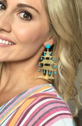 Turquoise Pagoda Earrings
