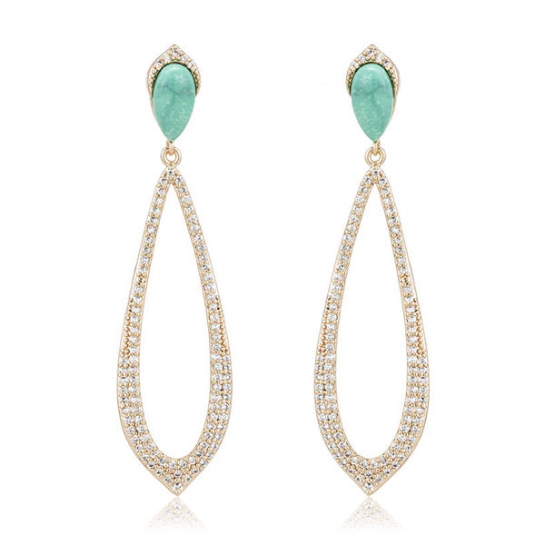 Turquoise Pave Earrings by MARCIA MORAN