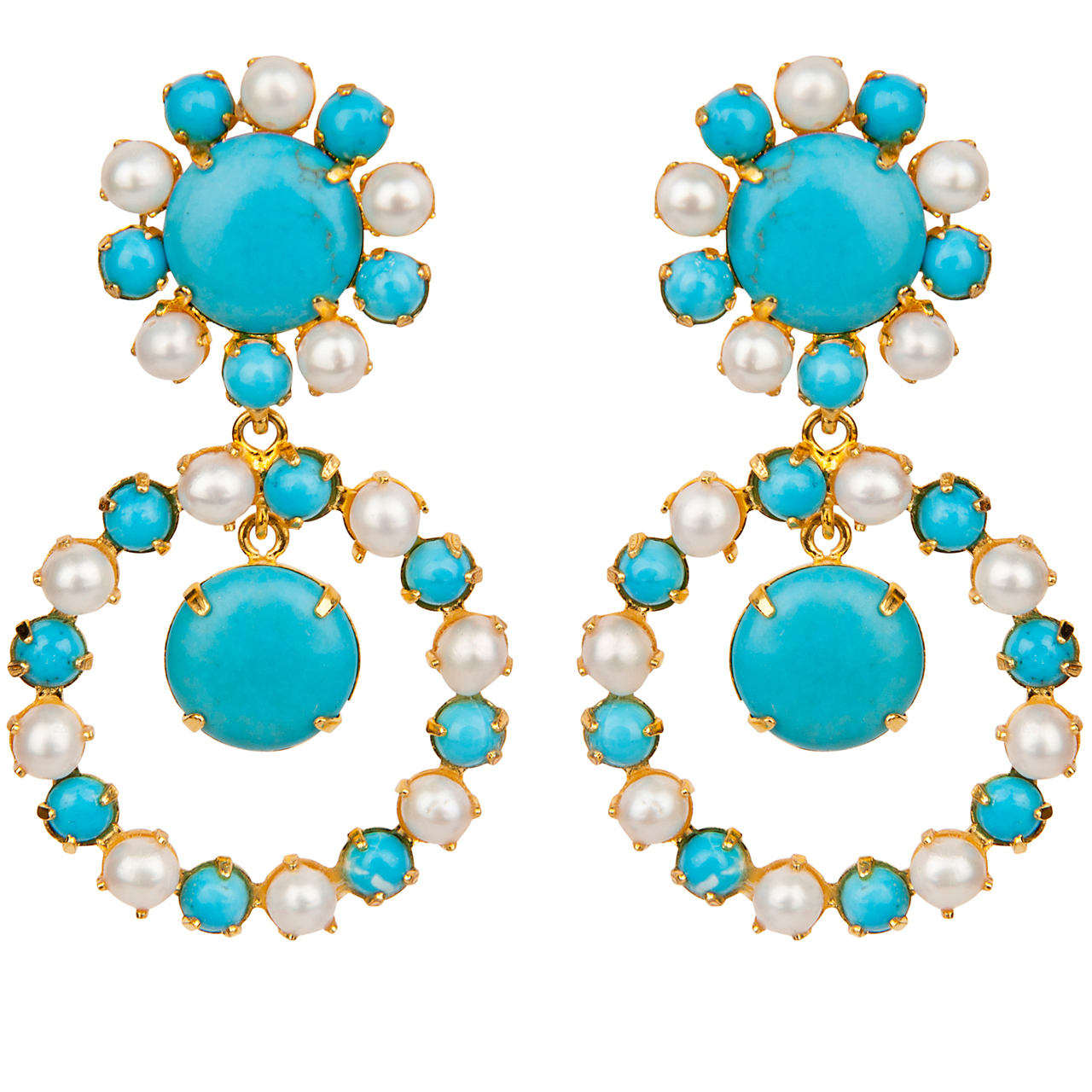 Turquoise Pearl Circle Earrings by BOUNKIT