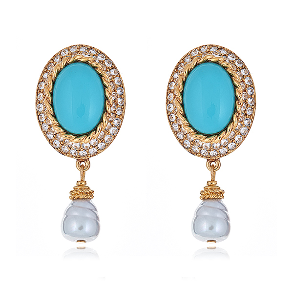 Turquoise Pearl Drop Earrings by BEN-AMUN