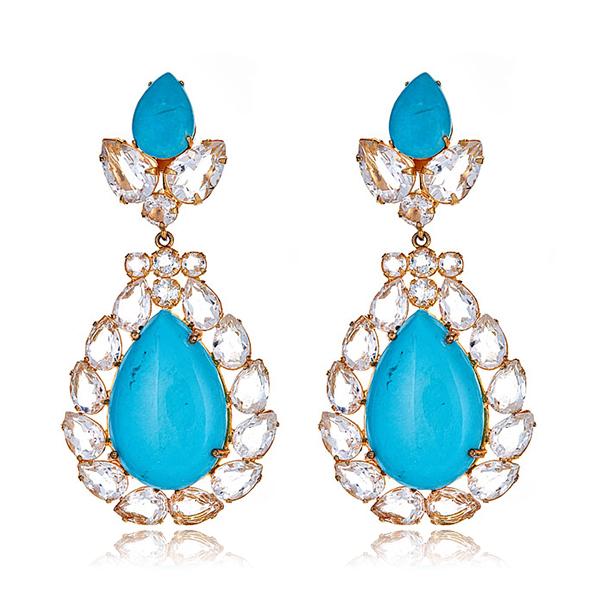 Turquoise Quartz Pear Earrings by BOUNKIT