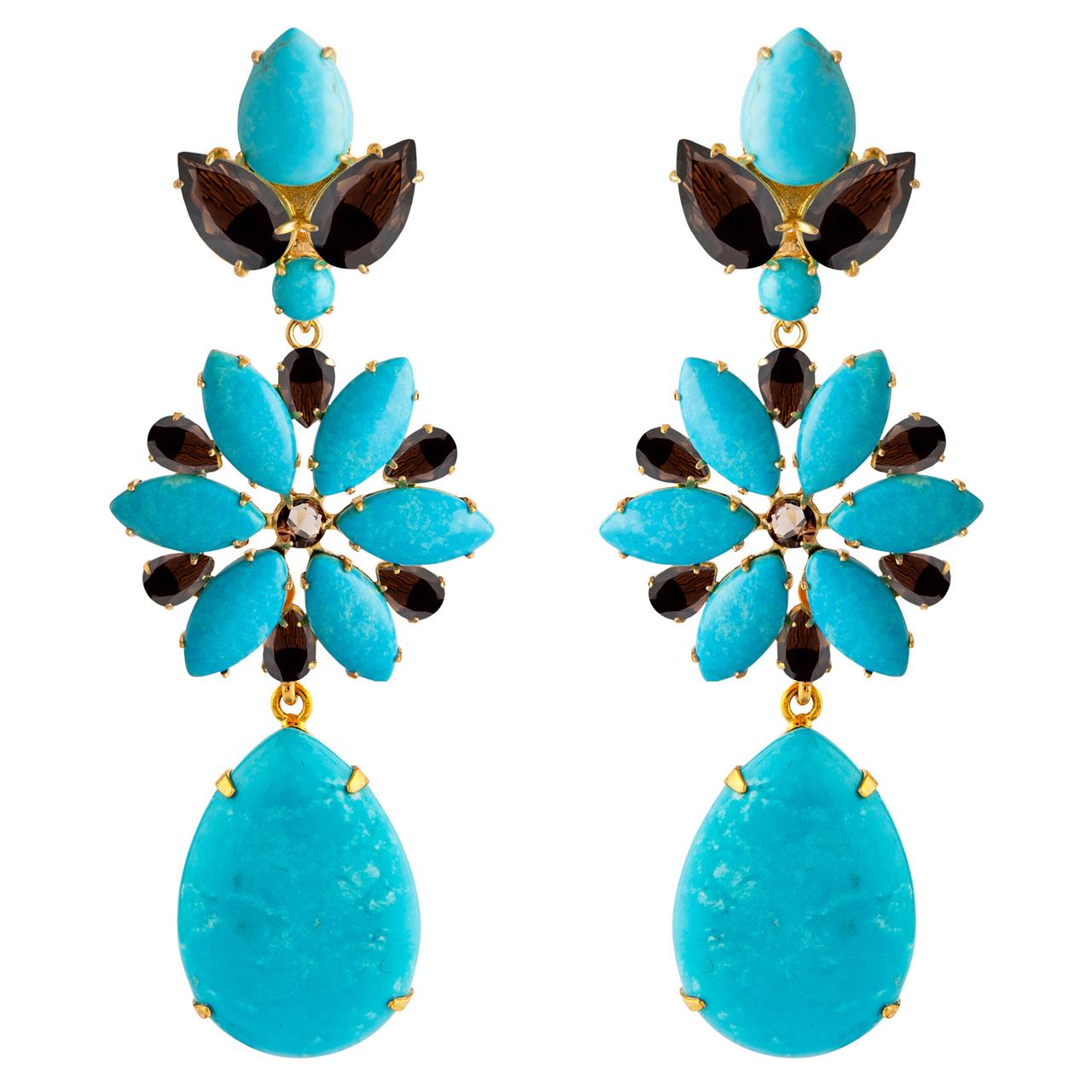 Turquoise Smoky Quartz Earrings by BOUNKIT