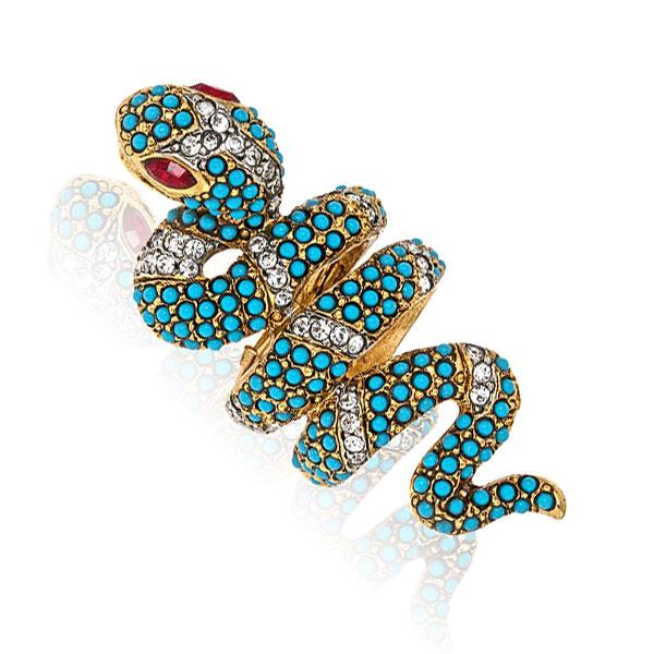 Turquoise Snake Ring by KENENTH JAY LANE