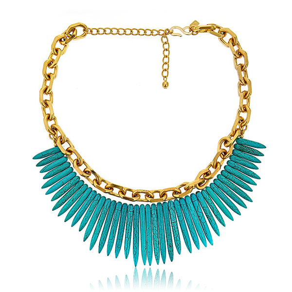 Turquoise Spike Link Necklace by KENNETH JAY LANE