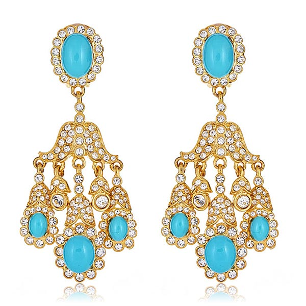 Turquoise Swarovski Earrings by KENNETH JAY LANE