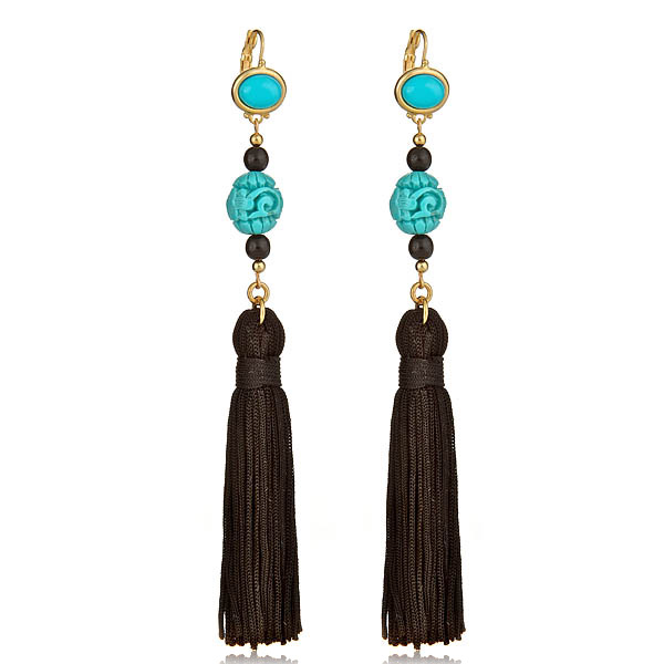 Turquoise Black Tassel Earrings by KENNETH JAY LANE