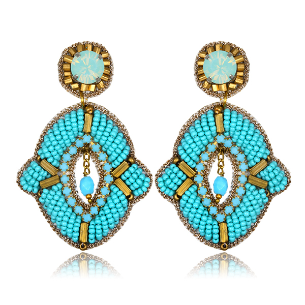 Turquoise Tribal Earrings by Suzanna Dai