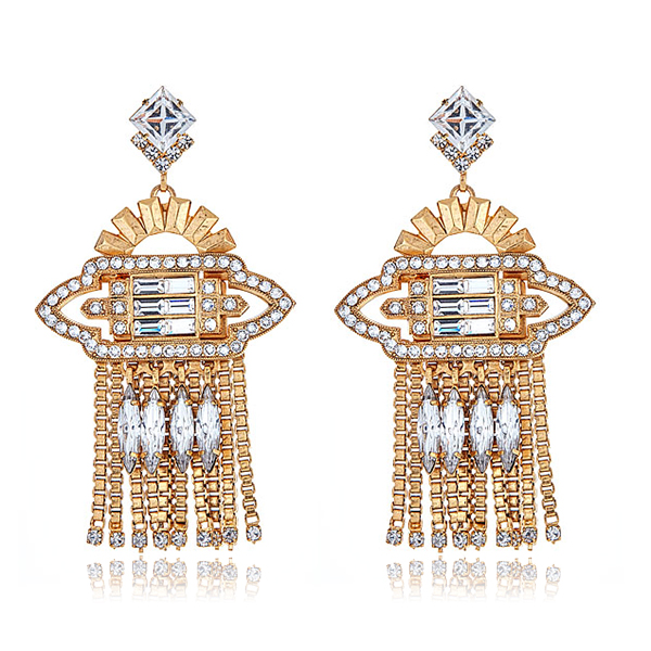 Velma Deco Crystal Earrings by ELIZABETH COLE