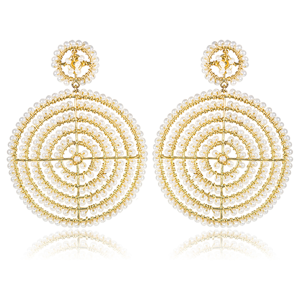 Disk Pearl Earrings by LISI LERCH