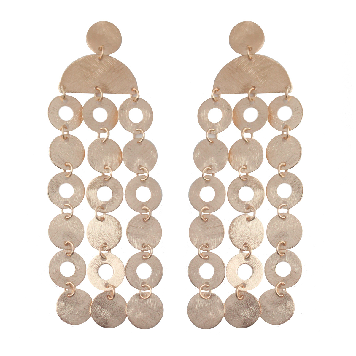 Rose Gold Coin Drop Earrings by MARCIA MORAN