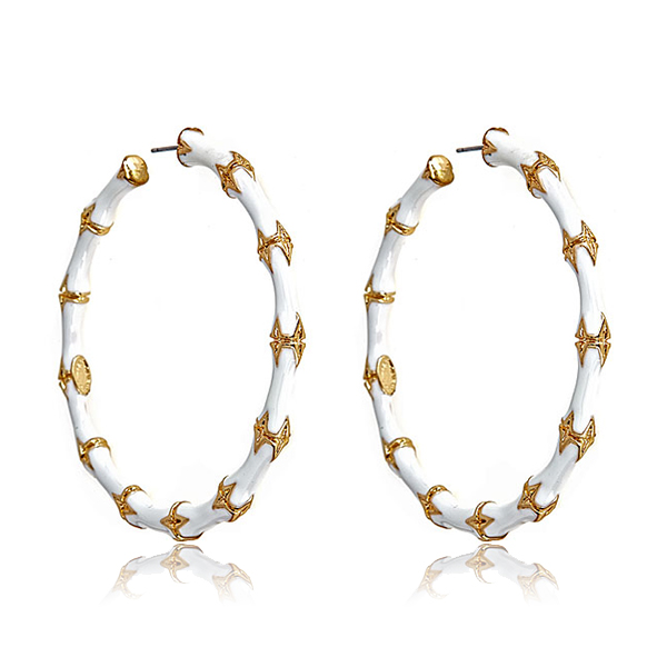 White Bamboo Hoop Earrings by KENNETH JAY LANE