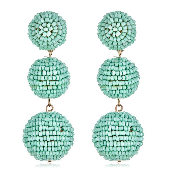 Mint Beaded Gumball Earrings by KENNETH JAY LANE