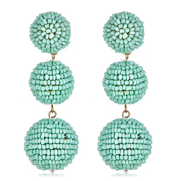 Mint Beaded Gumball Earrings by KENNETH JAY LANE