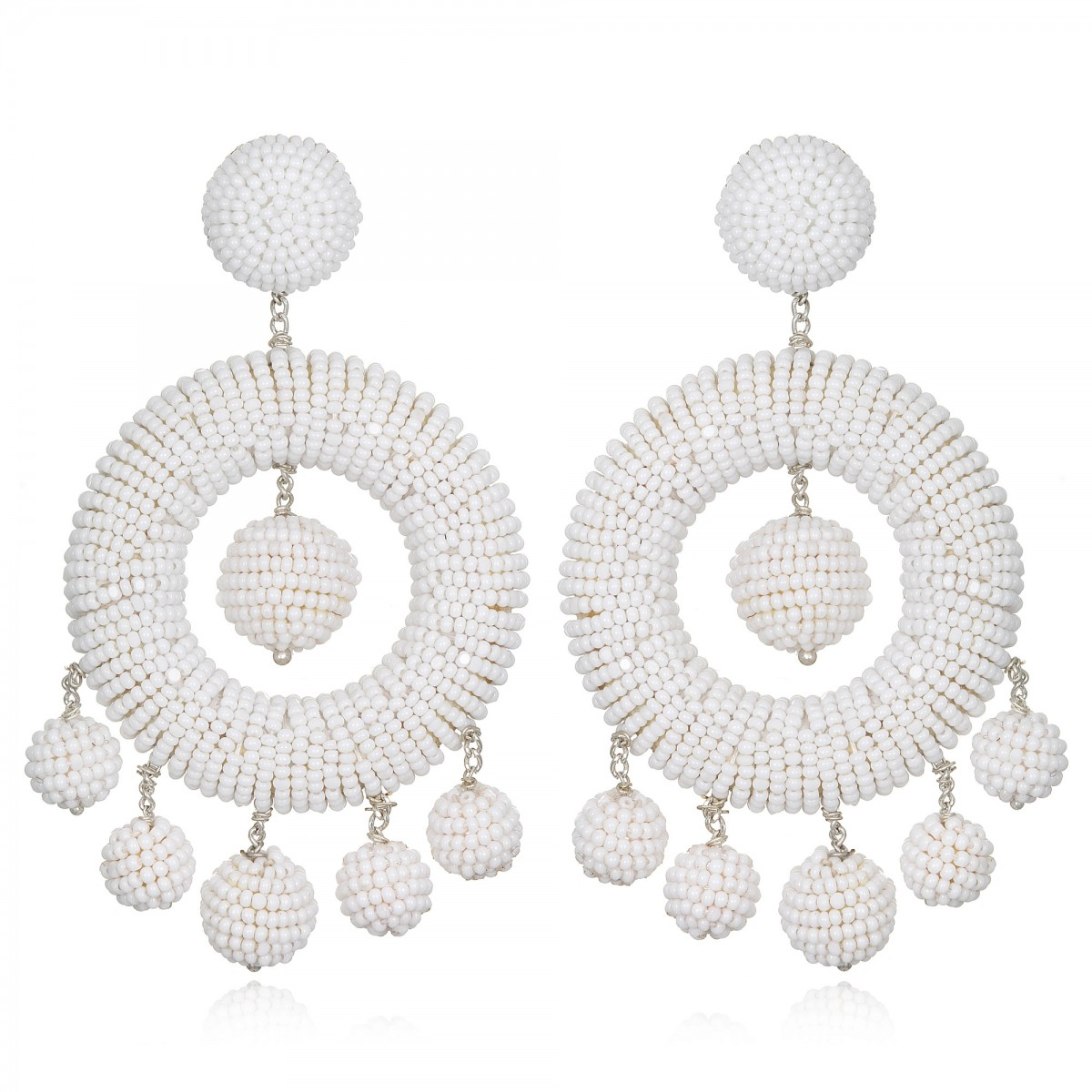 White Beaded Hoop Earrings by SUZANNA DAI