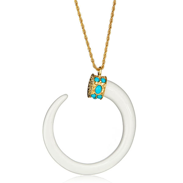 White Boho Tusk Necklace by KENNETH JAY LANE
