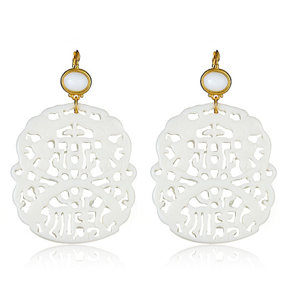 White Carved Earrings by KENNETH JAY LANE