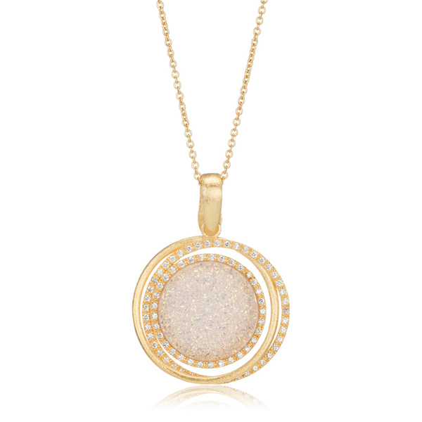White Druzy Pendant Necklace by MARCIA MORAN