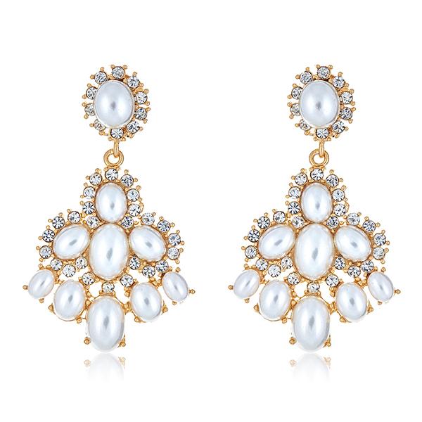 Crystal Pearl Drop Earrings by KENNETH JAY LANE