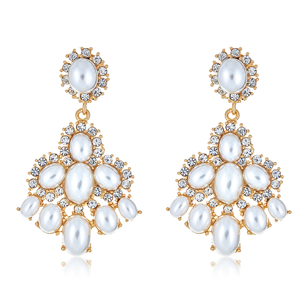 Crystal Pearl Drop Earrings by KENNETH JAY LANE