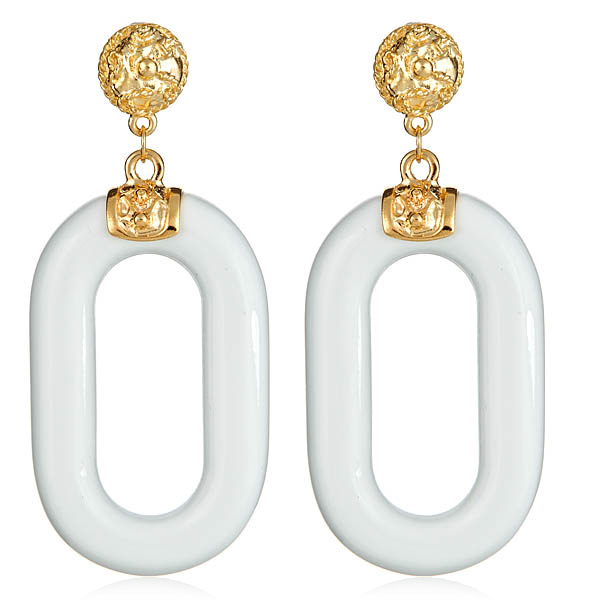 White Haute Link Earrings by KENNETH JAY LANE