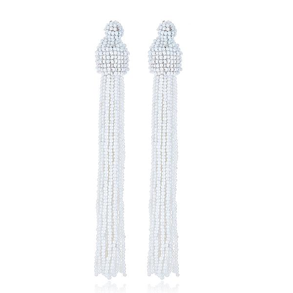White Seed Bead Tassel Earrings by KENNETH JAY LANE