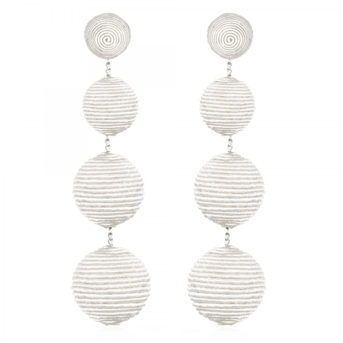 White Silk Gumball Earrings  by SUZANNA DAI