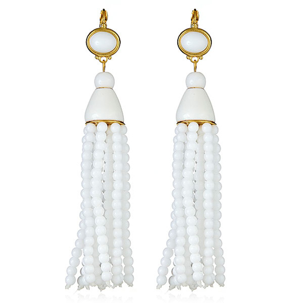 White Tassel Earrings by KENNETH JAY LANE