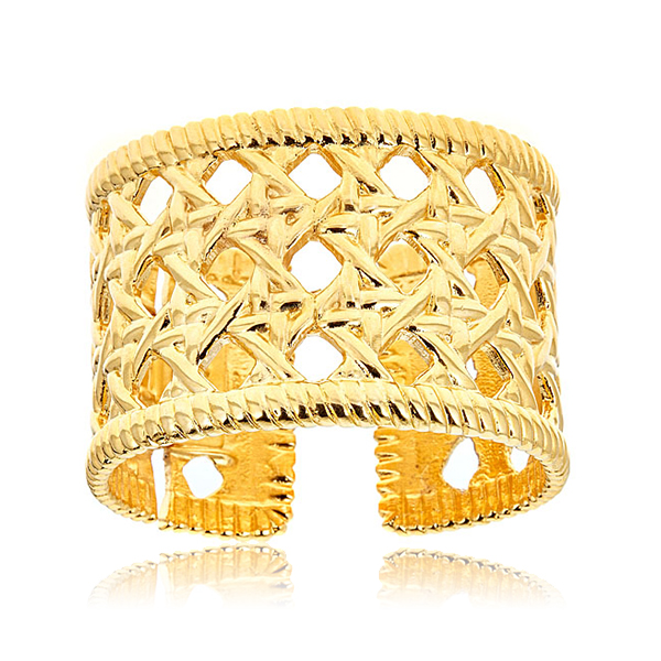 Woven Gold Cuff Bracelet by KENNETH JAY LANE