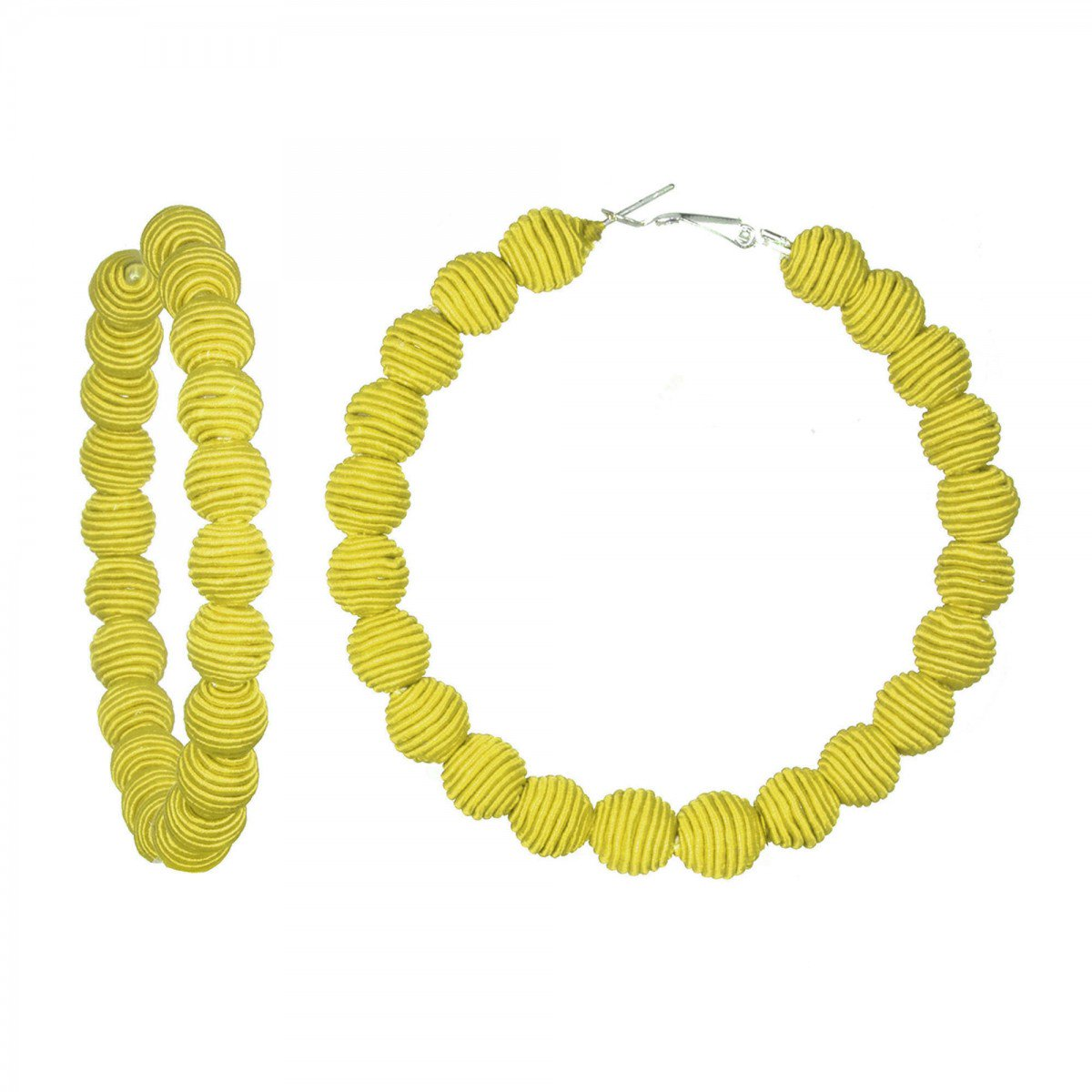 Yellow Silk Hoop Earrings by SUZANNA DAI