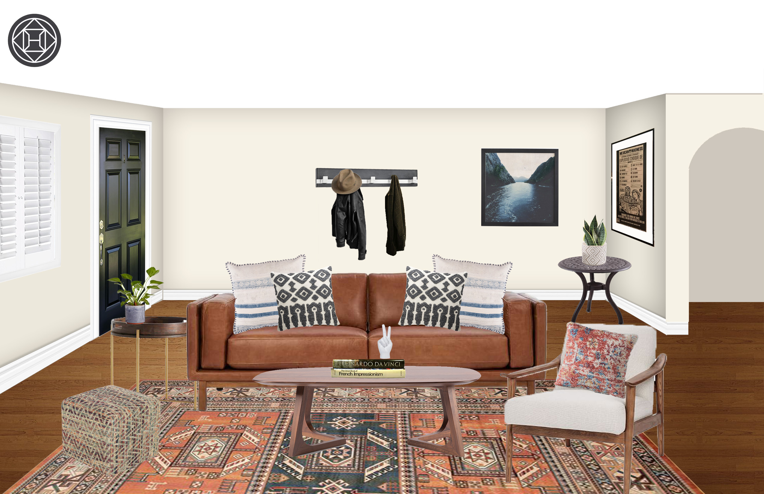 Eclectic Bohemian Midcentury Modern Living Room Design by Havenly