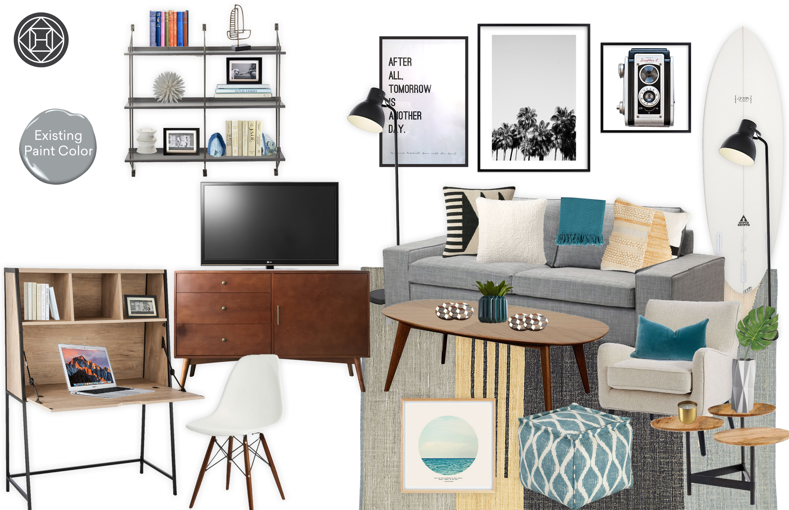 Elyza Mid Century Modern Living Room W A Beachy Vibe