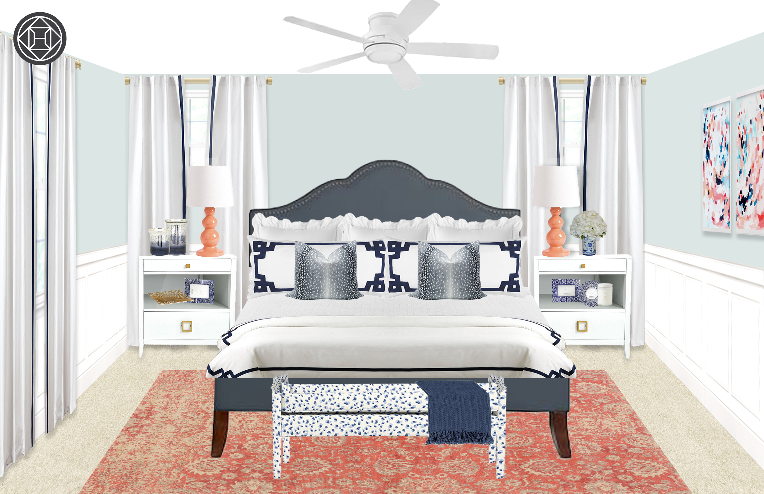 Preppy Navy, White, And Coral Bedroom