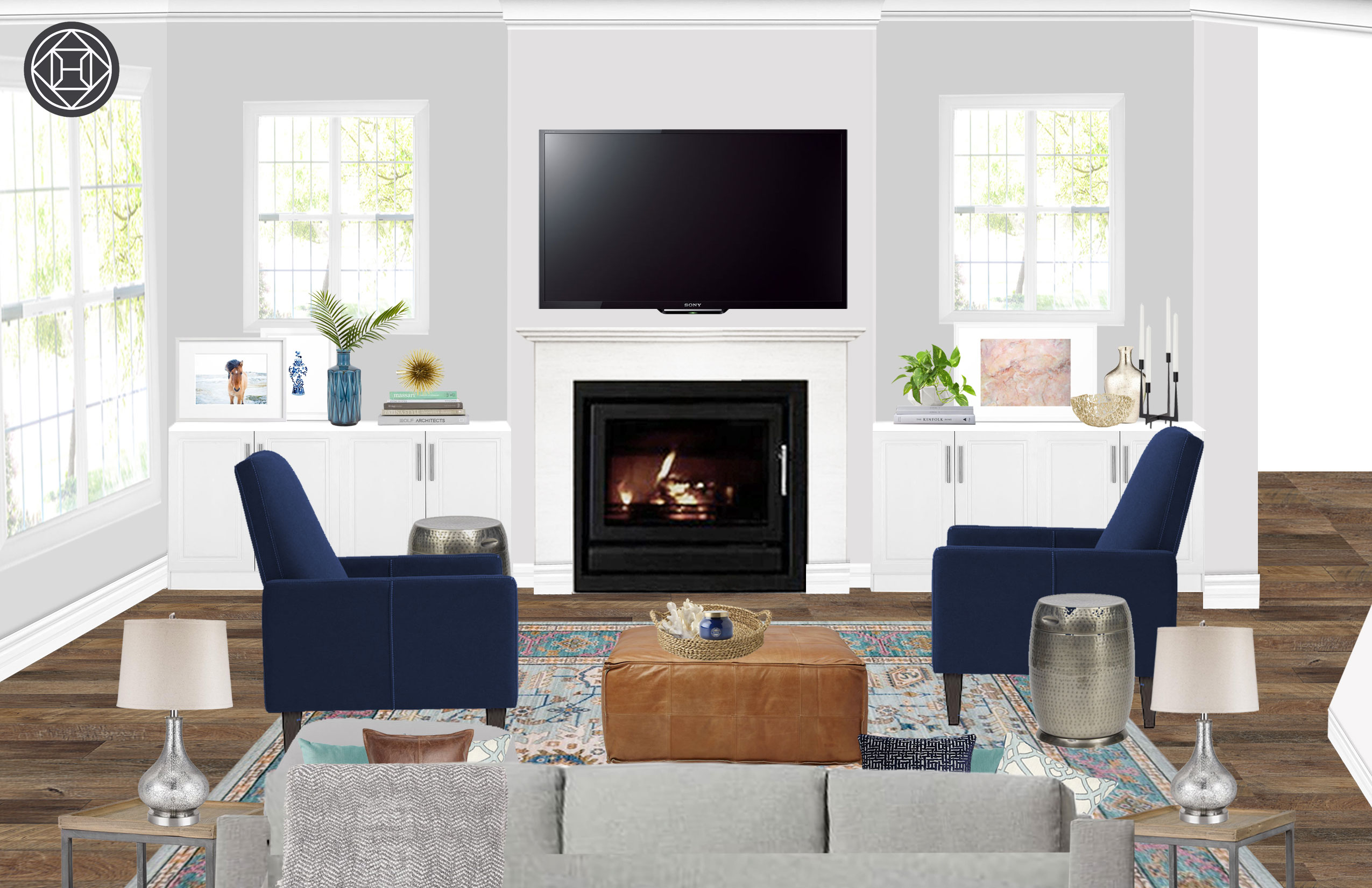 Contemporary / Traditional / Transitional Living Room Interior Design By  Natalie