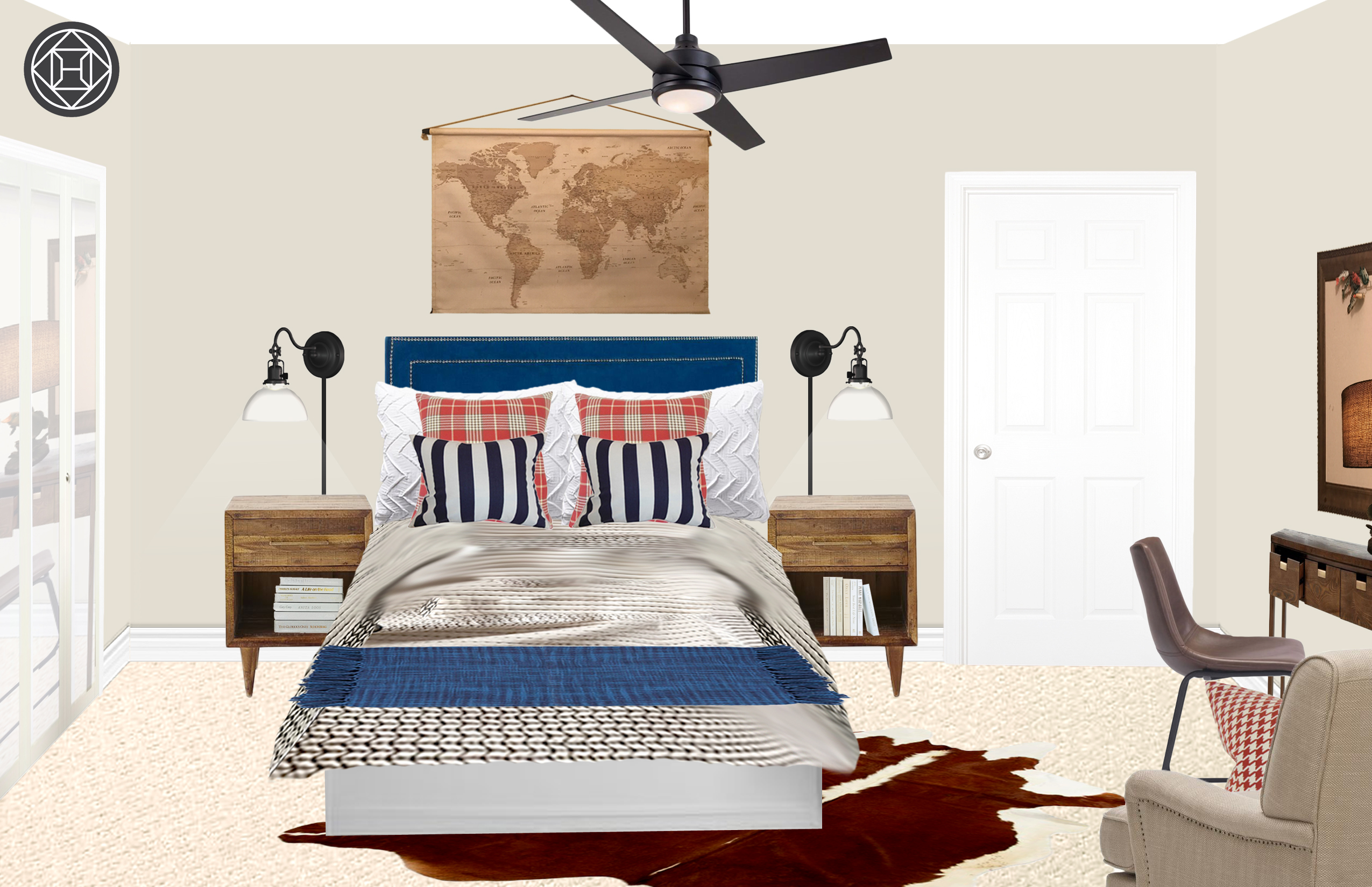 Beau Rustic Preppy Boy Bedroom With Navy Headboard