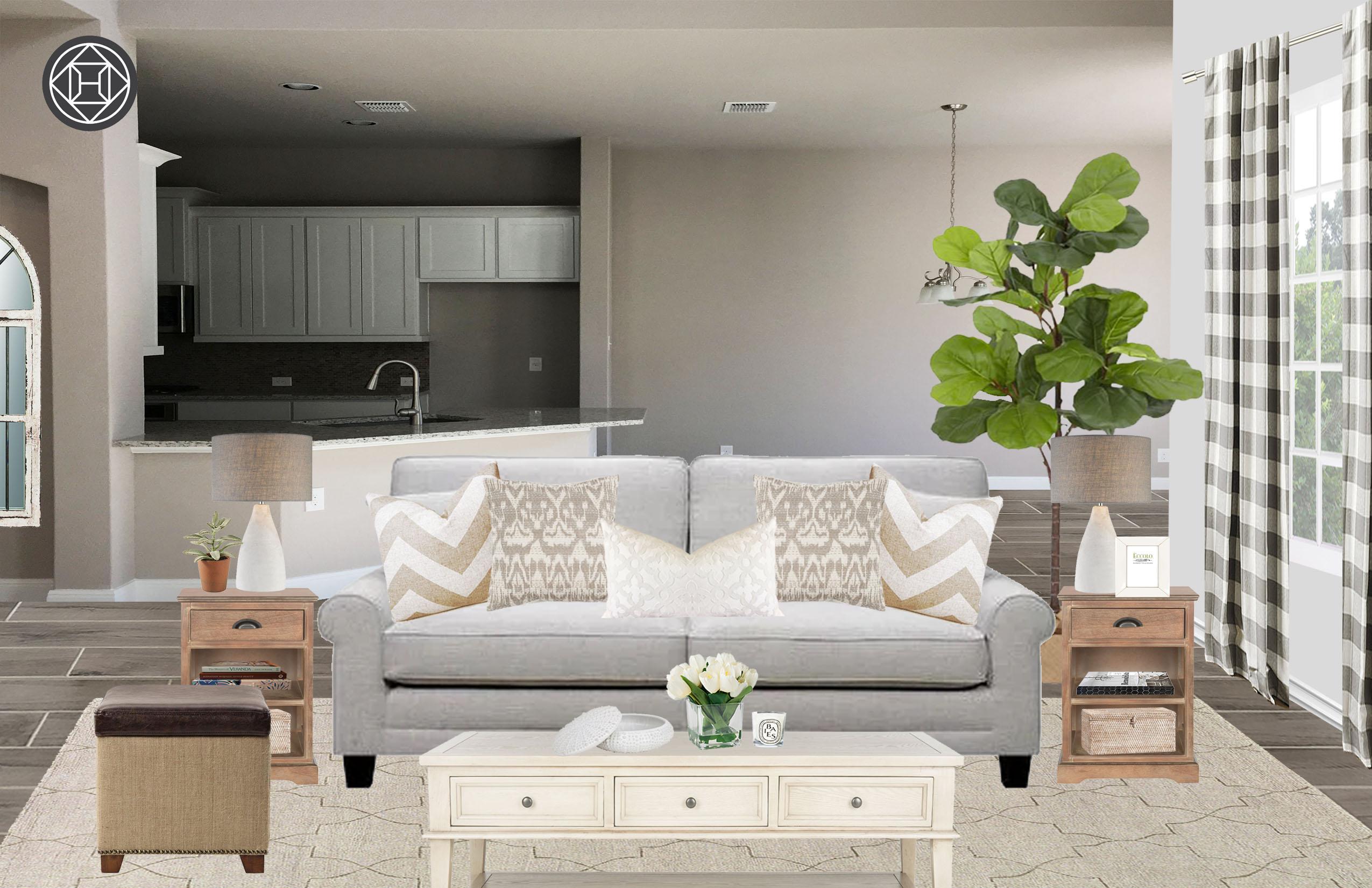 Coastal Farmhouse Living Room Design By Havenly Interior Designer