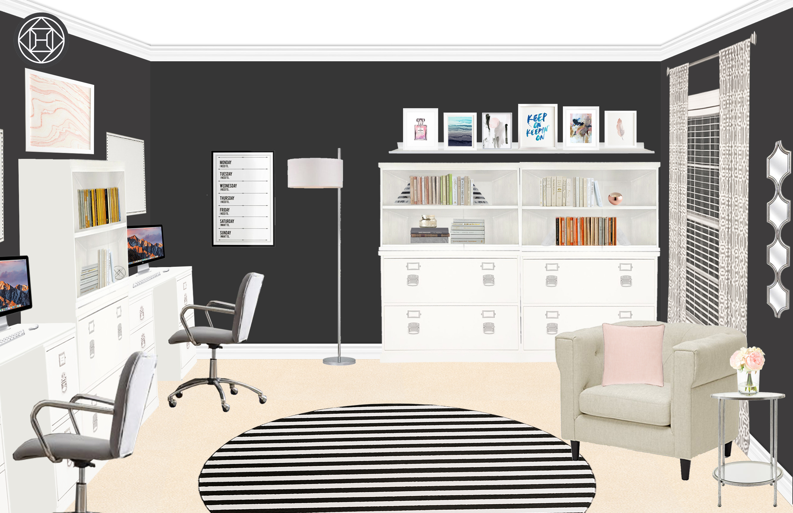 Contemporary / Glam / Traditional Office Interior Design By Michelle