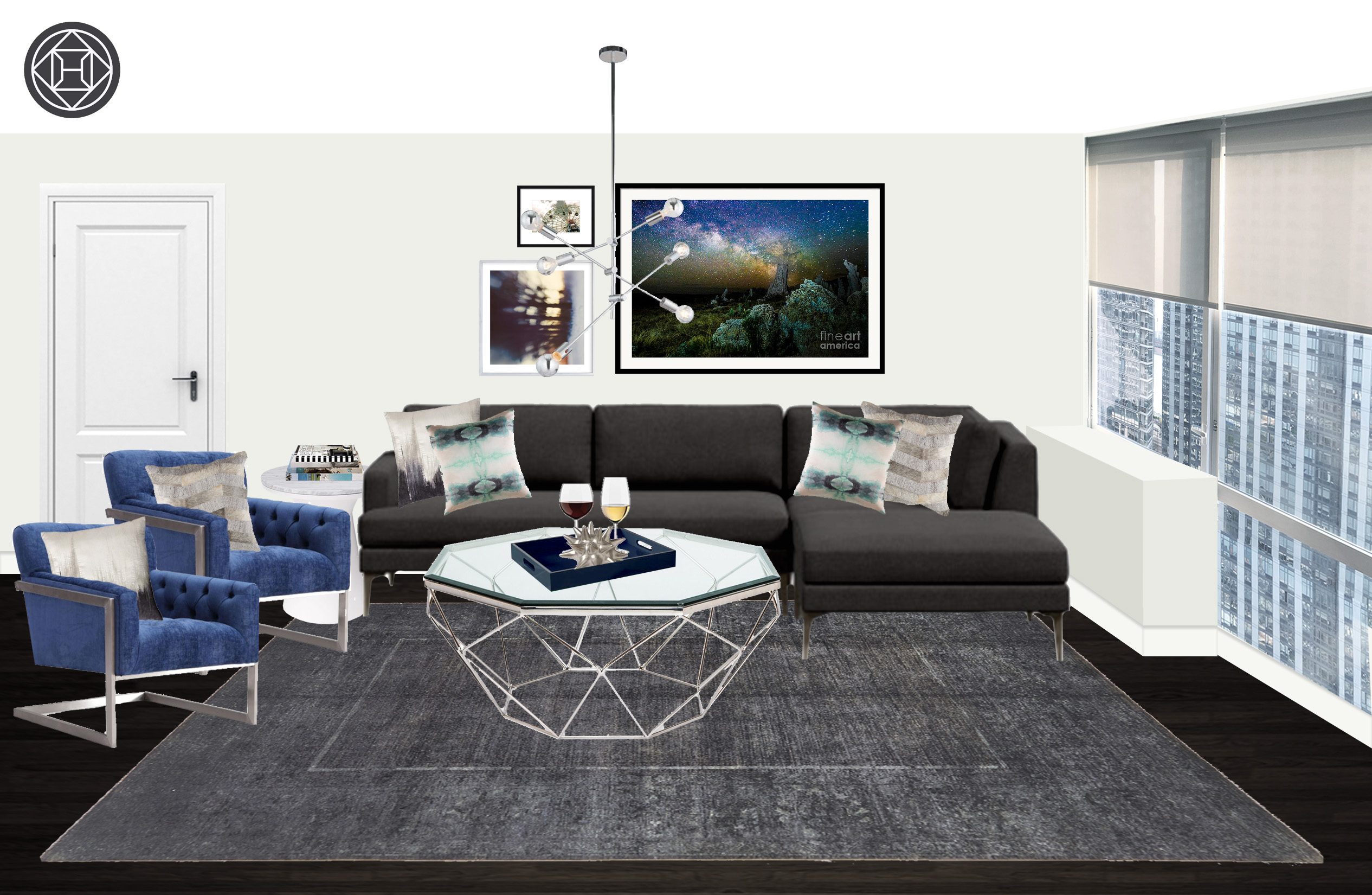 Contemporary Modern Midcentury Modern Living Room Design By