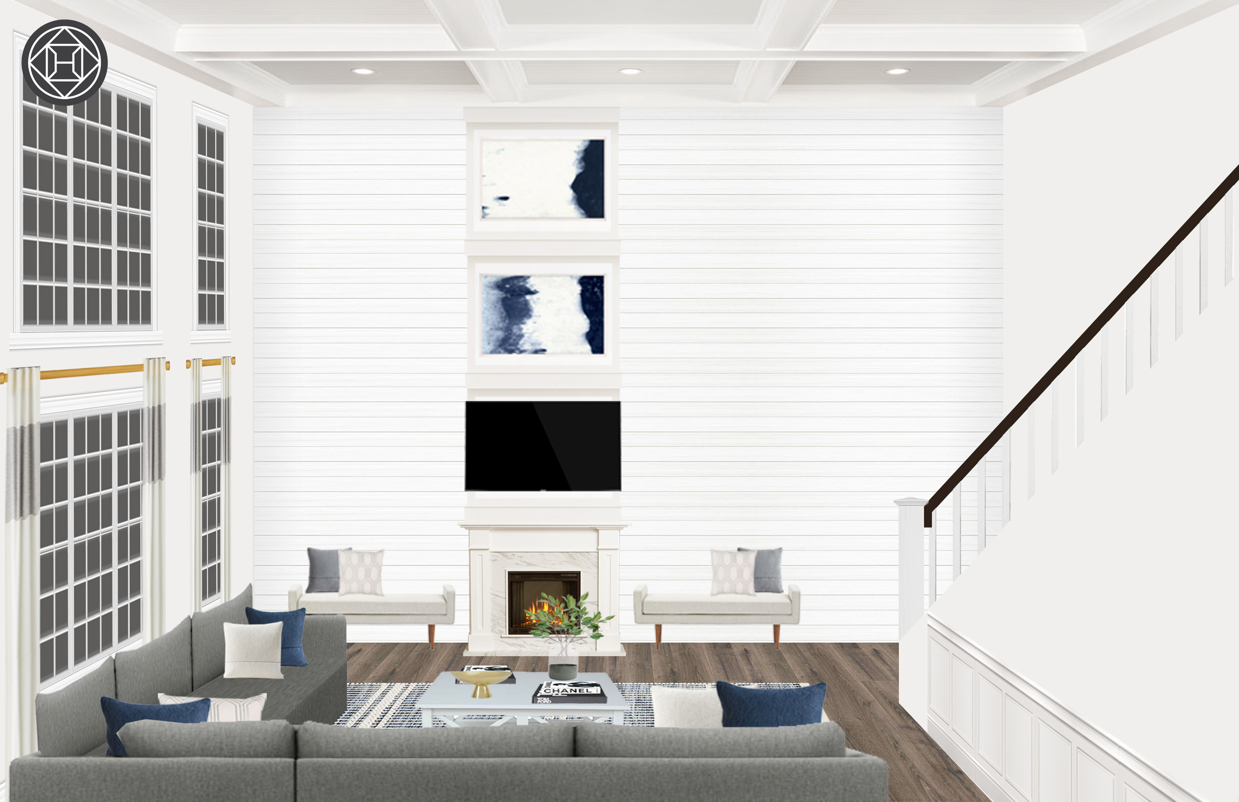 Modern Glam Farmhouse Living Room Design By Havenly