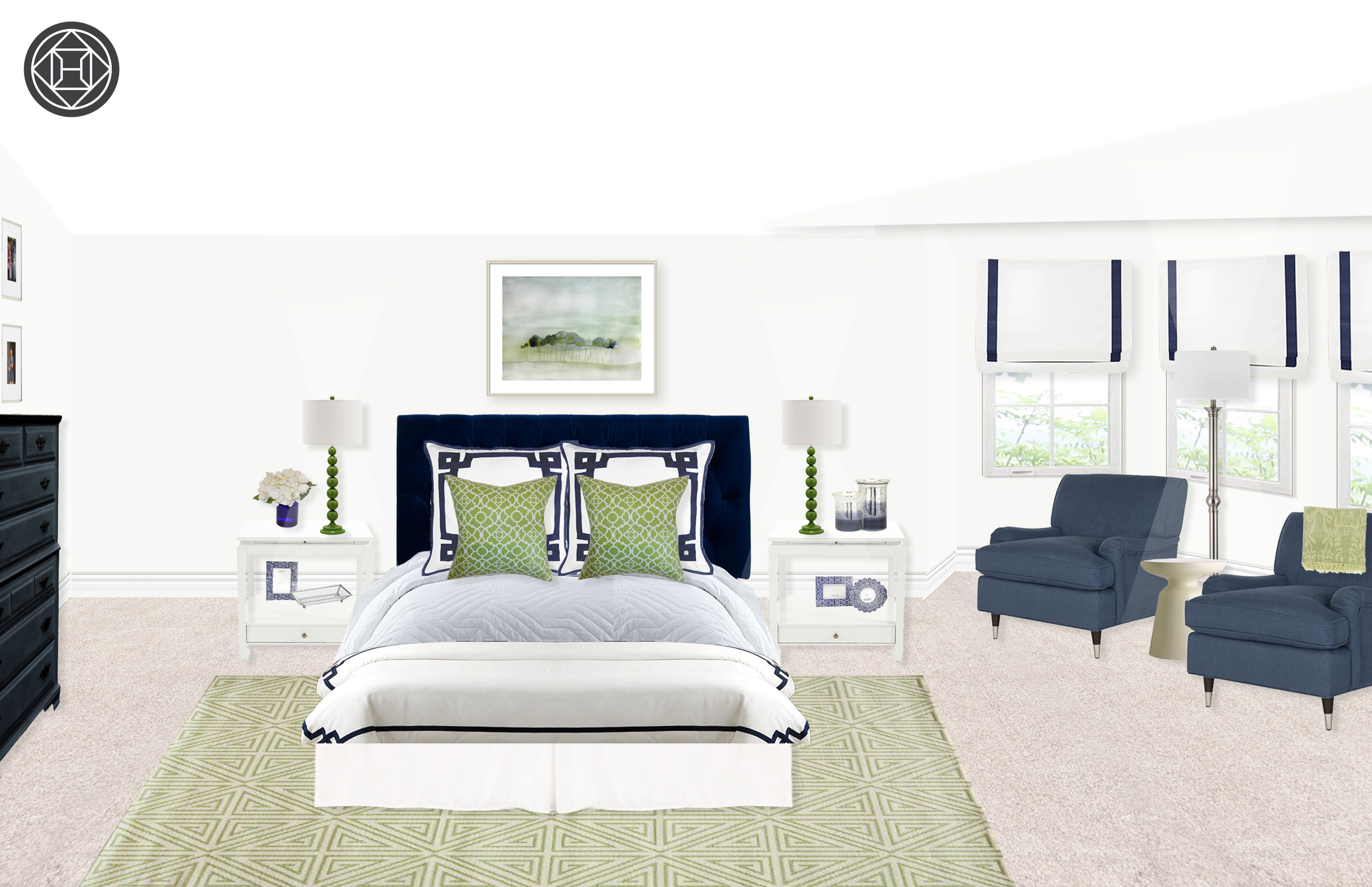 Charmant Classic Preppy Bedroom In Navy And Green