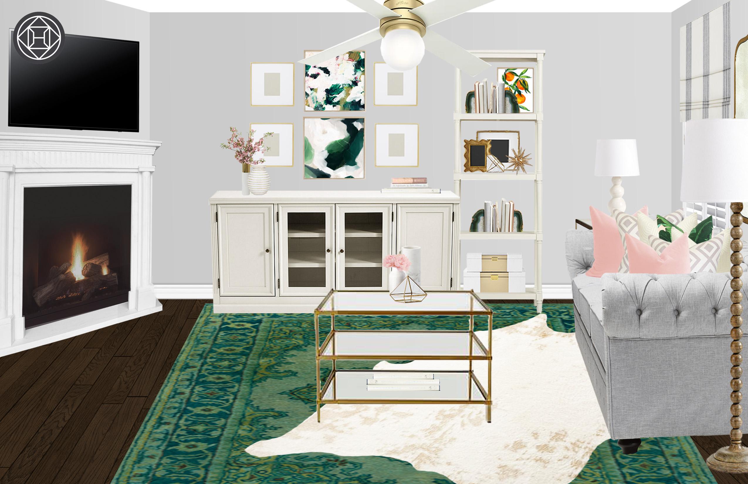 eclectic, coastal, glam living room designhavenly interior