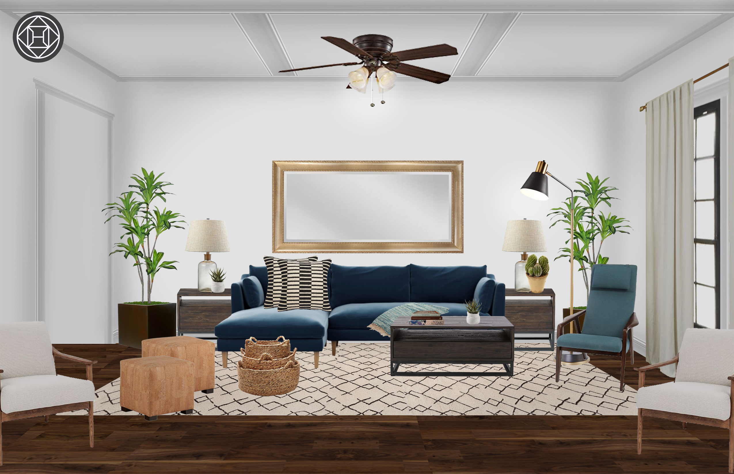 Industrial, Midcentury Modern Living Room Design by Havenly ...