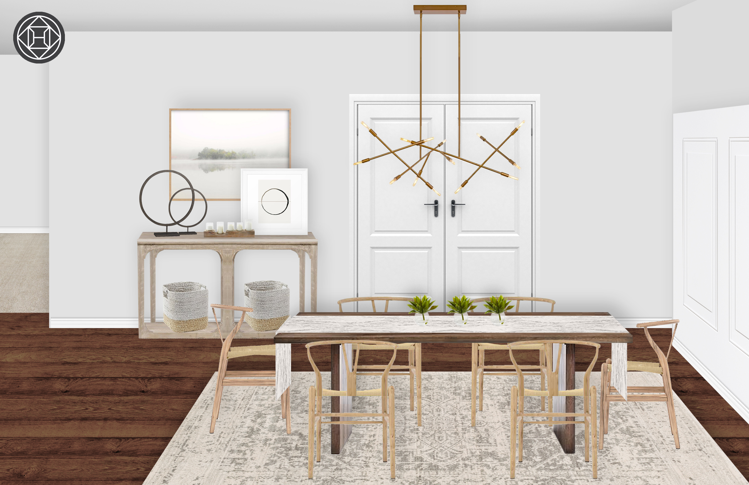 Modern, Bohemian Dining Room Design by Havenly Interior ...