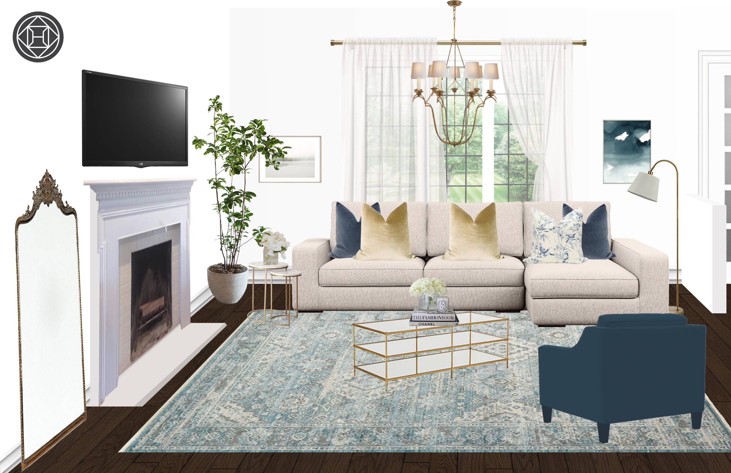 Contemporary Farmhouse Transitional Living Room Design By