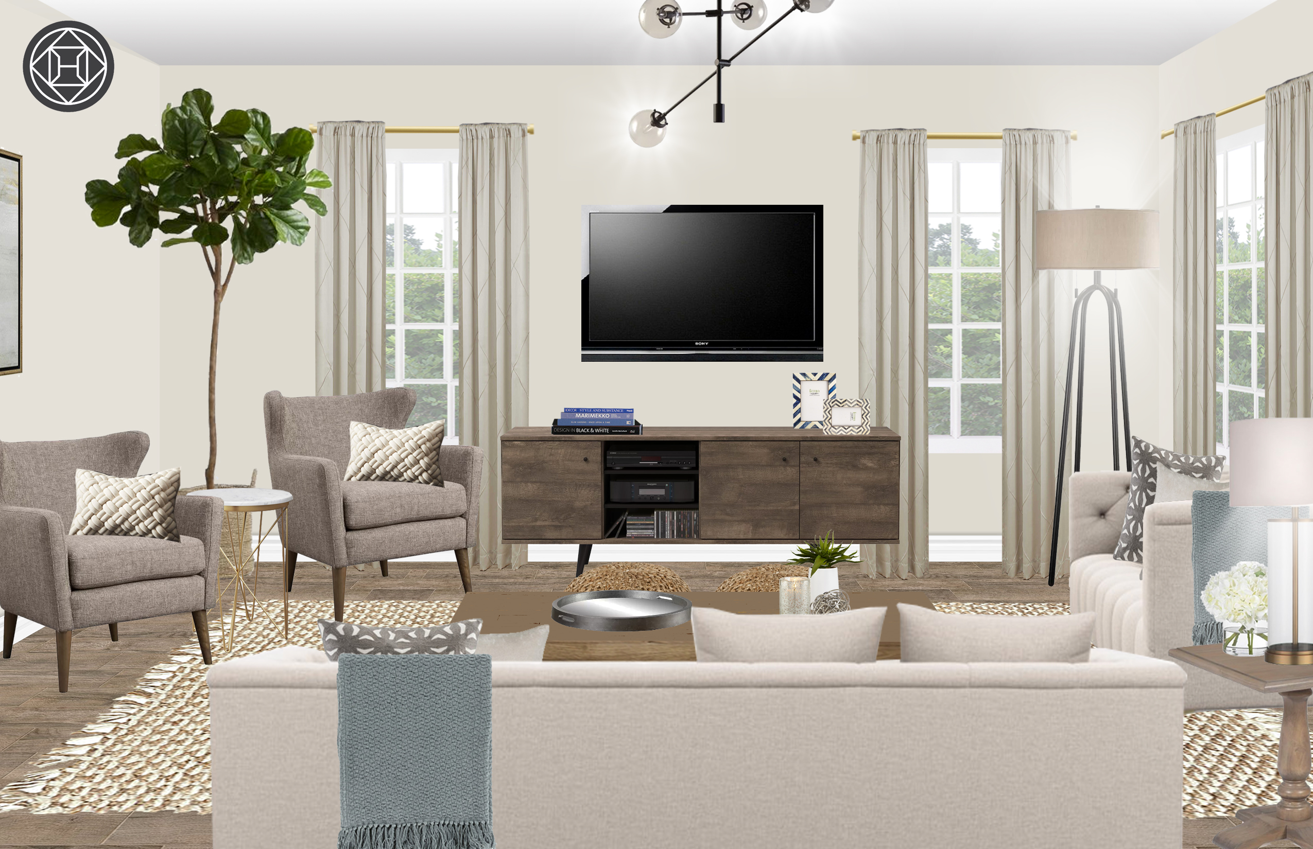 Eclectic Transitional Living Room Design By Havenly