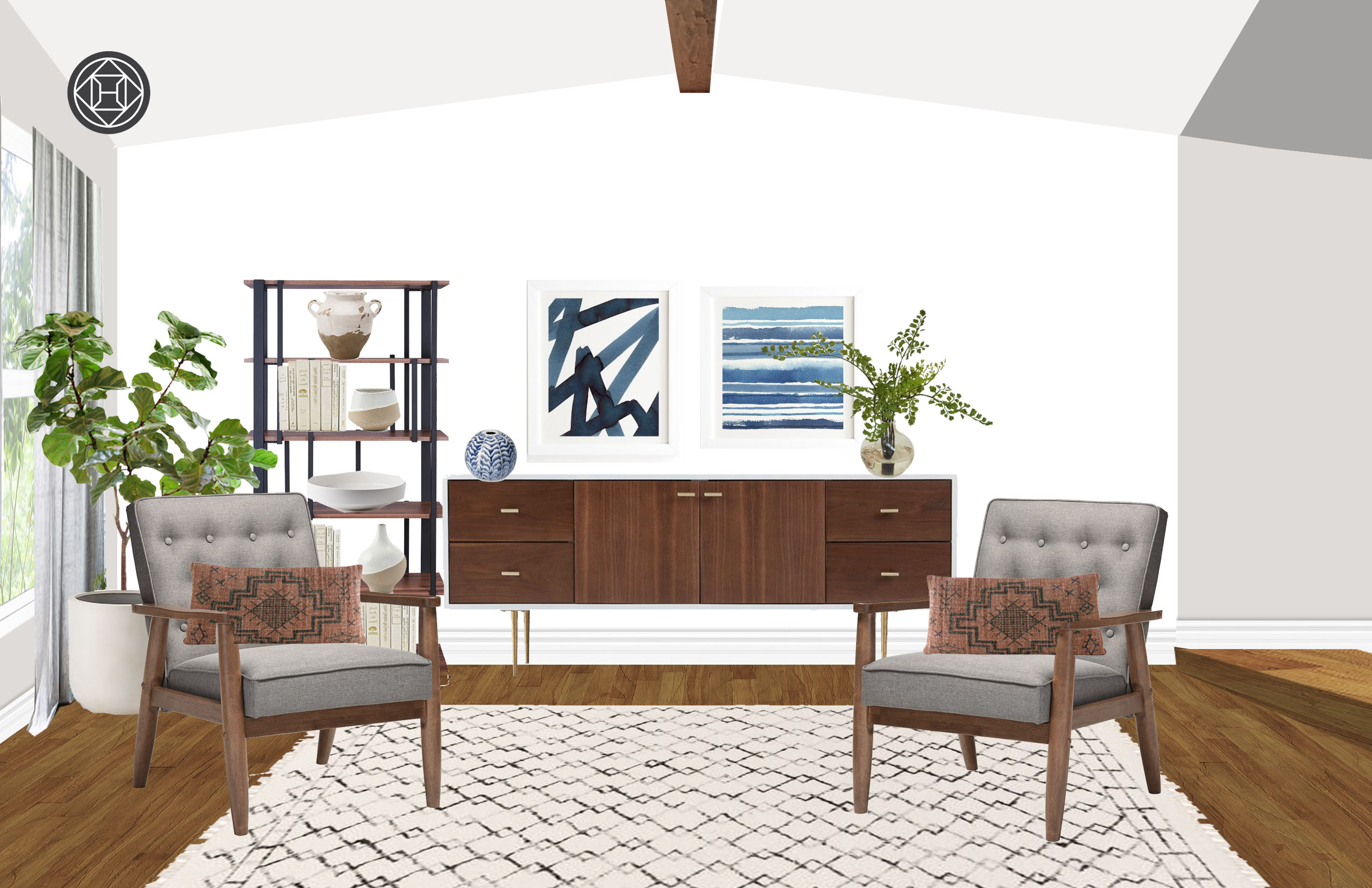 Transitional Midcentury Modern Living Room Design By