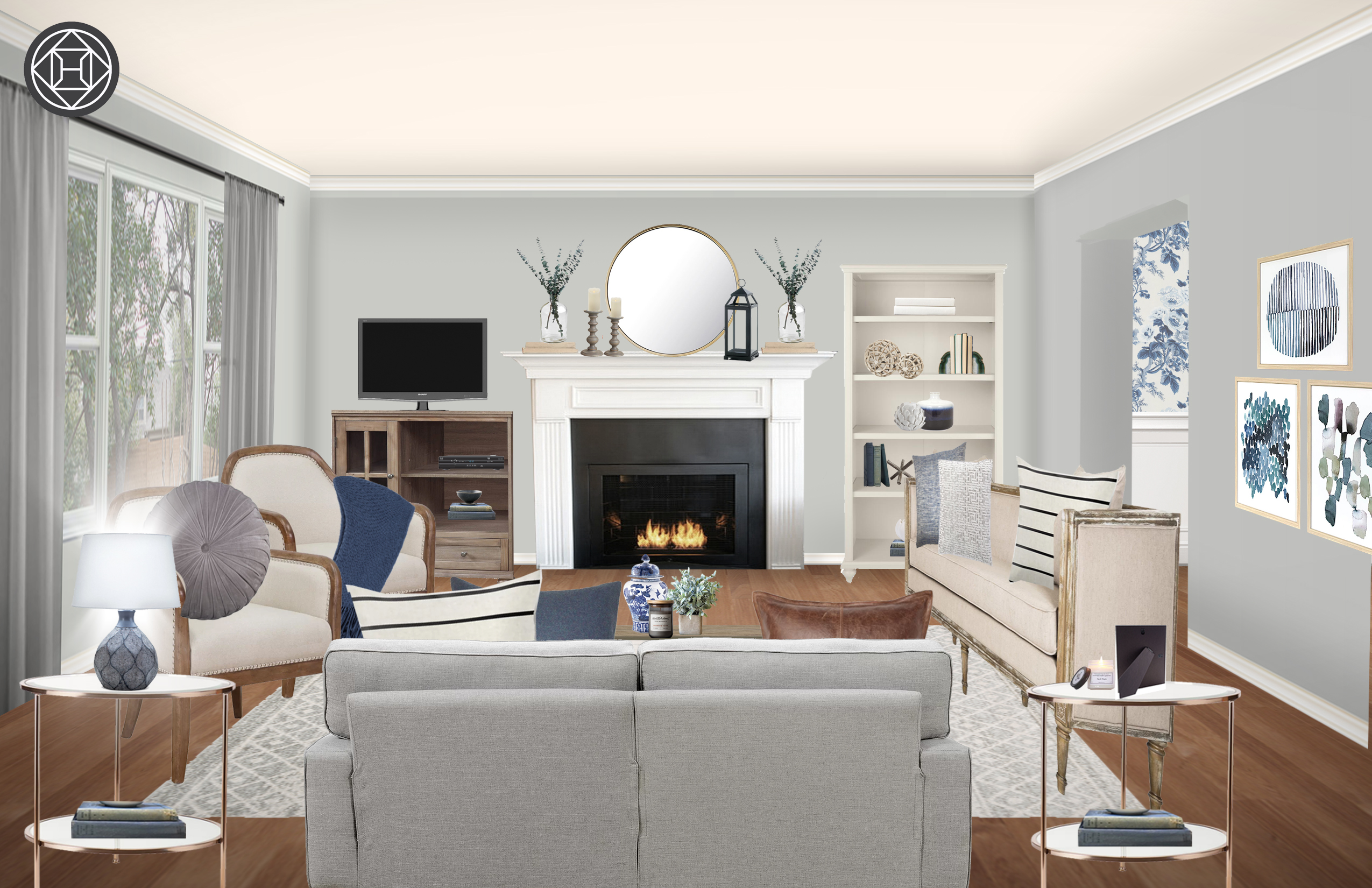 Contemporary Classic Traditional Transitional Living Room