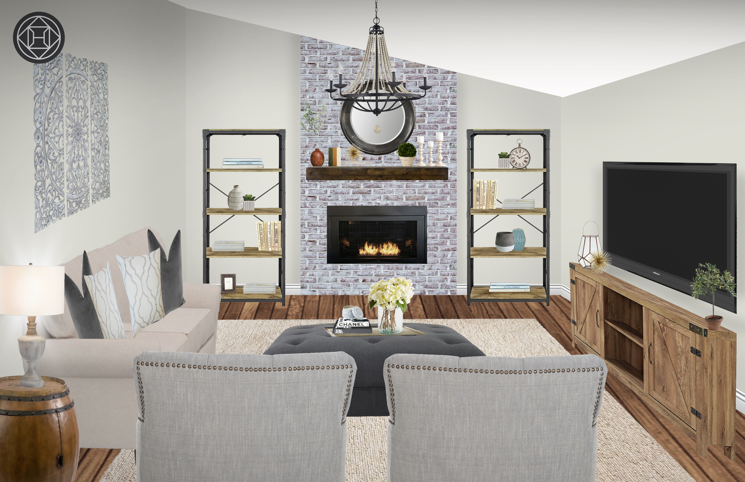 Classic Glam Farmhouse Rustic Transitional Living Room