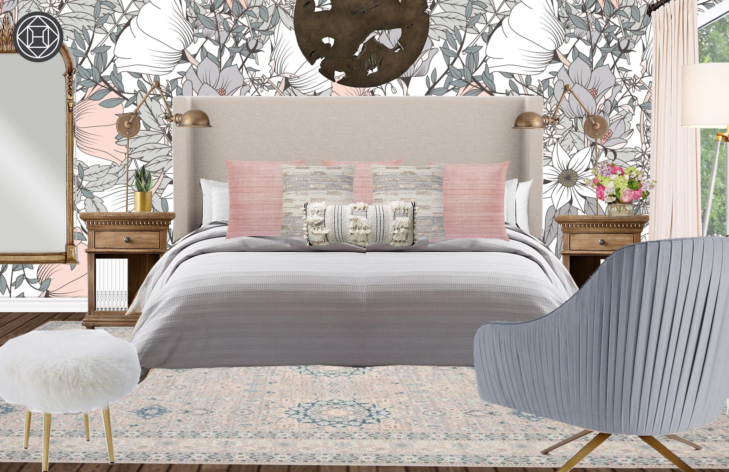 . Eclectic  Bohemian  Glam  Midcentury Modern Bedroom Design by