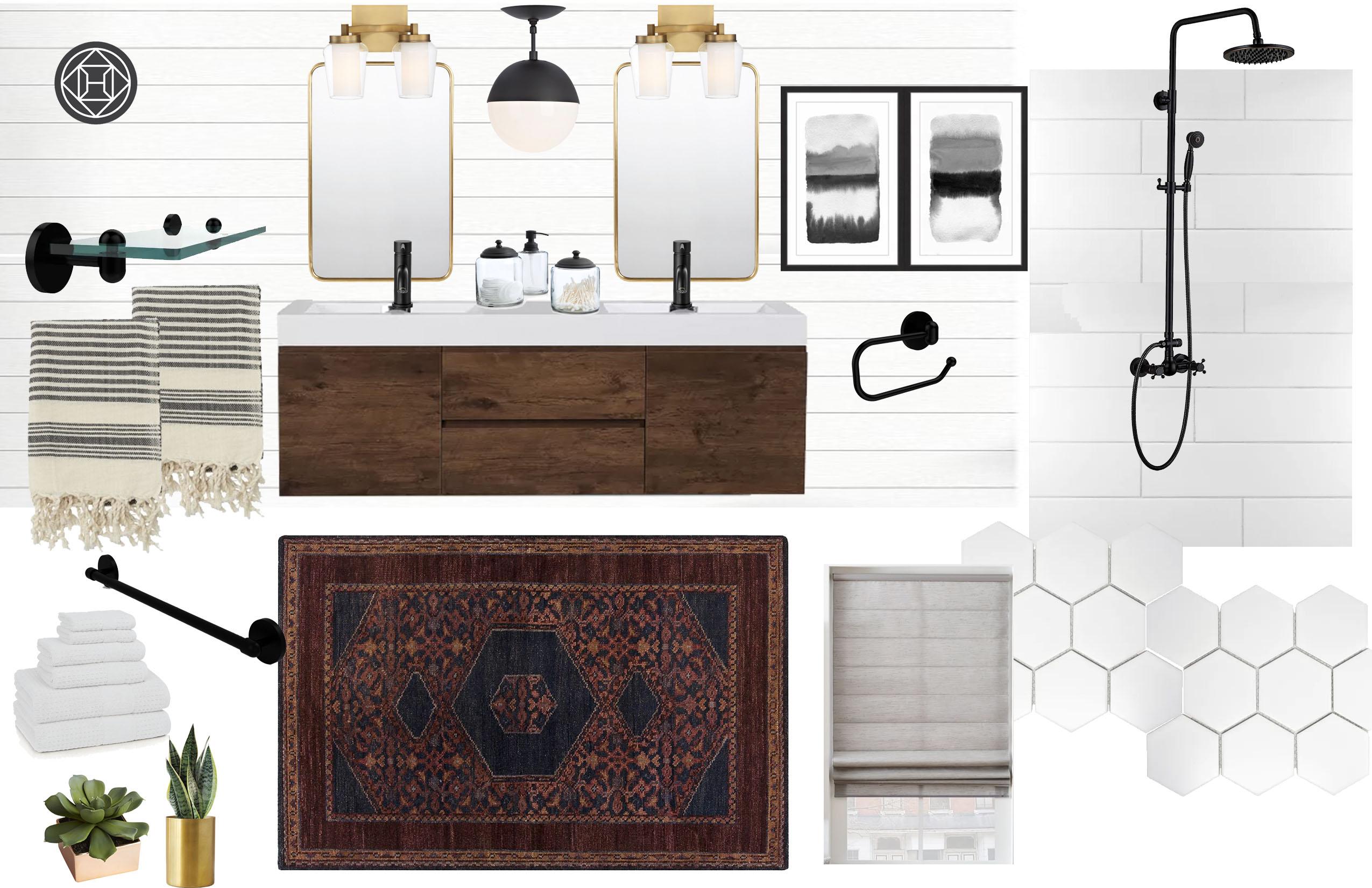 Transitional, Midcentury Modern Bathroom Design by Havenly Interior ...
